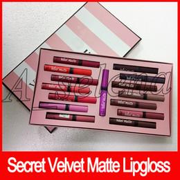 Papel de caixa de maquiagem on-line-Conjunto de Maquiagem secreta batom líquido 15 cores amor veludo matte lipgloss set caixa 15 pçs / set com saco de papel creme lábio mancha