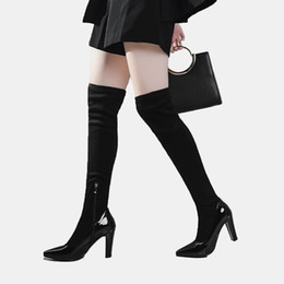 women black patent leather ankle boot Promo Codes - patent leather boots for women 2018 winter new fashion super high stiletto heels knee high long black suede shaft for party commuter