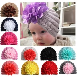 crochet maternity Coupons - 2018 Ins Infants knitting hats Beanies Flowers Indian hats Maternity Winter ears protection wholesale