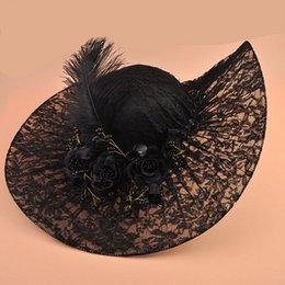 Vintage Siyah Dantel Kentucky Derby Şapkalar Güzel El Yapımı Çiçekler Boncuk ile Süslenmiş Tüy Ayarlanabilir 2018 Gelin Kilisesi Düğün Şapka nereden siyah sarı şapka tedarikçiler