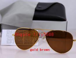 Wholesale sunglasses large lens - High quality Classic Pilot Sunglasses Designer Large Metal Sun Glasses For Men Women Silver Mirror 58mm 62mm Glass Lenses UV Protection