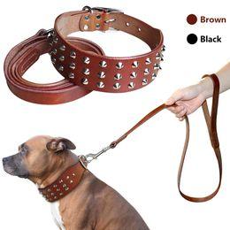 Wholesale Black Studded Collar - Cool Studded Genuine Leather Pet Dog Collars Leash Set For Medium Large Dog Pitbull Boxer Bulldog S M L Black Brown