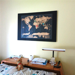 Wholesale Vintage Fun - Deluxe Black Scratch World Map Edition Vintage Retro Decorative Poster Geography Teaching Fun Toy Travelers Children Kids Christmas Gift