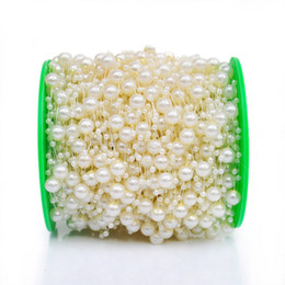 Wholesale Plastic String Beads - 200 Feet Pearl Garland Roll of Beads Pearl String of Pearls Bead Chain Beaded Wire Pearl Strands Bead Roll for Decorating Crafts Wedding Par