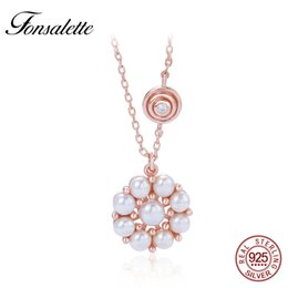 Шкура подсолнечника онлайн-Retro 925 Sterling Silver Sunflower Freshwater Cultural Pearl  Choker Necklaces Women Flower Pendant Jewelry Collares zk40