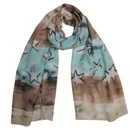 Wholesale Lightweight Fashion Scarves - New designer star printing soft women season's lightweight scarf shawls green blue size 90x180cm 10pcs lot LL171178