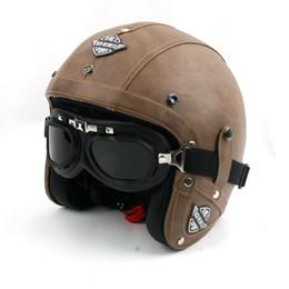 Wholesale Open Face Helmet Dot - Vintage Leather Helmet Motorcycle DOT Open Face ABS Retro Classic visor scooter goggles for Vespa Harley Motorbike Motocross