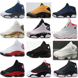 Wholesale Army Navy Game - 13 XIII Mens Basketball Shoes History of Flight black cat Bred Navy Game hologram grey toe Flint Grey Sneakers High Quality