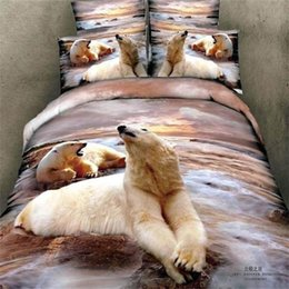 Wholesale White Queen Size Quilt - 3D Animals Printing Polar Bear Bedding Set Queen Size Bed Sheet Pillowcase Quilt Cover Bed in a Bag 100% Cotton Bedroom Sets