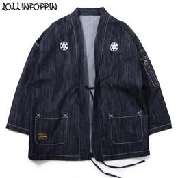 Argentina Japón Estilo Sakura bordado hombres Kimono chaqueta Streetwear manga cremallera bolsillo Mens Vintage Kimono chaqueta High Street supplier xl mens kimonos Suministro