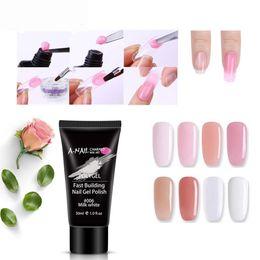 Наращивание ногтей онлайн-30ml Clear Pink Jelly Polygel Dry Building Gel UV Gel Builder DIY Manicure Nail Art Tips Finger Extension Camouflage