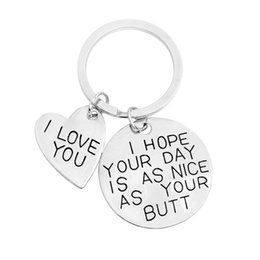 """Wholesale Nice Friends - New Fashion Keychain Keyring DIY Heart Keychain """"I LOVE YOU I HOPE YOUR DAY IS AS NICE AS YOU"""" Jewelry for Your Friend"""