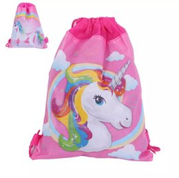 Wholesale Cm Themes - 34*27 cm Unicorn Drawstring Backpack Girls Princess Kids Theme Party Backpack Candy Bags School backpack 120p