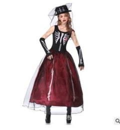 Wholesale Zombie Bride - Halloween Costume Female Adult Ghost Bride Zombie Witch Vampire Cosplay Cos Makeup Clothes Stage outfit