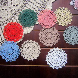 Wholesale Crochet Flower Decoration - 50pcs Handmade Crochet Lace Doilies 11cm Colorful Flower Crochet Table Placemat Coaster Vintage Mat Pad For Wedding Decoration