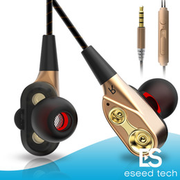 Wholesale ear phones bass - Double Unit Drivers headphones In Ear earphone Bass Subwoofer Stereo With Mic Sport HIFI earbuds gaming headset For iphone Samsung All Phone