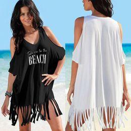 72082f6f291d Hot Sale Women Cover-Ups Summer Bathing Suit Letter Print Beach Bikini  Swimwear Bustier Beach Dress Tassel Women Cover Up 2018