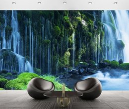 Wholesale Living Proof Full - 3d Waterfall landscape Mural wallpaper Natural scenery full Wall Murals print decals Home Decor photo wallpaper