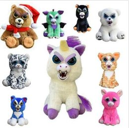 Wholesale Christmas Pet Toys - 20cm One Second Change Face Feisty Pets Animal Plush Toys Cartoon Monkey Unicorn Stuffed Toy for Baby Christmas Gifts CCA8514 20pcs