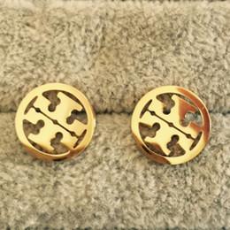 2019 Фирменное наименование полой круглой геометрии Серьги-гвоздики мужчины женщины свадебный подарок ювелирные изделия кольца от