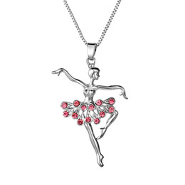 Wholesale Ballet Dance Gifts - SIRODI Jewlry Little Girl Silver Necklace Dancer Ballet Recital Gift Ballerina Dance Pendant Necklaces Teen Girls Snap Jewelry