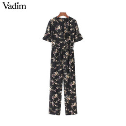 Wholesale Vintage Playsuits - Vadim vintage floral V neck jumpsuits bow tie sashes short sleeve pockets rompers playsuits female fashion casual pants KZ1176