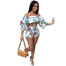 purple pink suit Promo Codes - Adogirl 2018 Floral Print 2 Piece Set Summer Sexy Women Sets Strapless Top and Shorts Two Piece Set Fashion Casual Female Suit