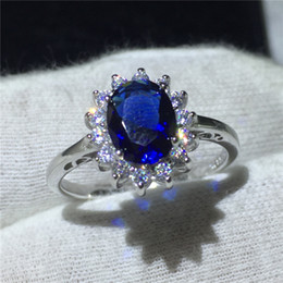 royal blue african jewelry set Australia - Royal Jewelry Princess Diana 100% Real 925 Sterling silver ring Blue 5A Zircon Cz Engagement wedding band rings for women Bridal