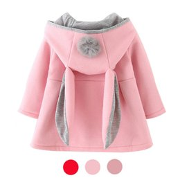 Wholesale Pink Lolita Coat - Autumn Winter Baby Outwear Infants Girls Cute Rabbit Hooded Princess Jacket Coats with Ball Christmas Gifts New Year Clothe