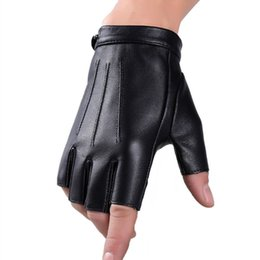 Wholesale Fall Fashion Gloves - Mens Punk Cool PU Leather Fingerless Gloves Fashion Classic Male Short Half Finger Gloves Motorcycle Cycling Outdoor Driving