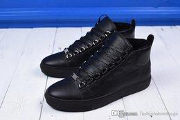Wholesale Full Black Slip - 2019Balenciaga Speed Arena Mid Sneaker High 5382745 Top Sneaker Full black litchi grain with velvet Come With Original Box