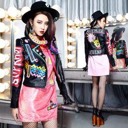remaches de la chaqueta de las muchachas Rebajas HOT womens damas niñas punk rock hip-hop Graffiti insignias bordado remache de impresión corto motocicleta locomotora chaquetas de cuero