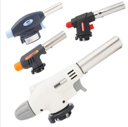 Wholesale tools solder gas - BBQ Blowtorch Cooking Lighters Soldering Butane Gas Torch Flame Auto Ignition Blow Jet Lighter Welding Burning Heating Kitchen Tool 3 Styles