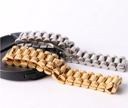 2019 relógio de pulseira chapeada Hip Hop 22 CM Assista Cadeia Coroa Pulseiras Pulseiras para Homens Aço Inoxidável 316L Banhado A Ouro de Luxo Designer de Jóias de Presente fino relógio de pulseira chapeada barato