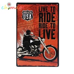 Wholesale Metal Cafe - Live to RIDE famous motorcycle Tin Sign Bar pub home House Cafe Restaurant Wall Decor Retro Metal Art sticker Poster HD001