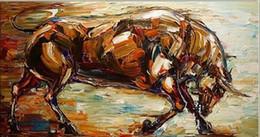 Toros de manos online-Toro fuerte, pintado a mano de alta calidad pintura moderna pintura al óleo abstracta del arte animal en la lona. Múltiples tamaños Ab020