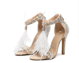 sexy lycra dress Promo Codes - 2019 Sexy Plus Size Summer Woman High Heel Sandals Leather Rhinestone Feather tassels Thin High Heel Women Wedding Shoes Stilettos