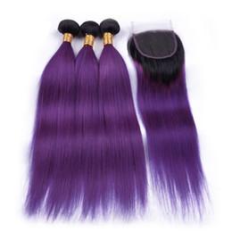 Vierge ombre violet cheveux en Ligne-Ombre Purple Soyeux Cheveux Raides 3BundlesAvec Fermeture En Dentelle Deux Tons 1B violet Extension De Cheveux Vierges Avec Top Dentelle Fermeture 4x4