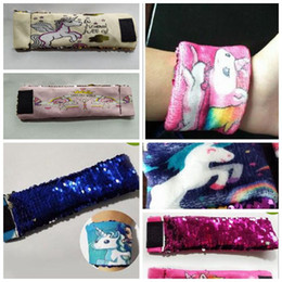 Wholesale Cute Cuffs - Magic Unicorn Reversible Sequins Mermaid Bracelet Cute Sequin Wrap Bracelet Wristband Cuff Warp Braclets Wrist Band 7 Styles 120pcs OOA3904