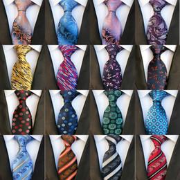 Wholesale British Neckties - New Styles 8 cm Fashion Men Ties Silk Tie Mens Neck Ties Handmade Wedding Party Gold Paisley Necktie British Style Business Ties Stripe