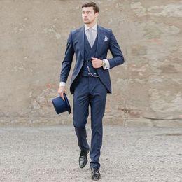35b6da4a3d Navy Blue Men Suits Custom Made Wedding Suits Peaked Lapel Italian Groom  Tuxedo Best Man Blazers 3 Pieces Jacket Pants Vest Groomsmen Wear