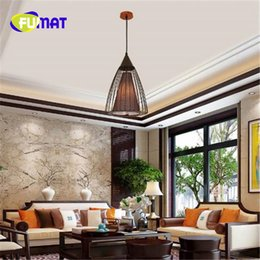 Wholesale Chinese Touch Lamps - FUMAT Modern New Chinese Style Pendant Antique Design Birdcage Chandelier Single Head Restaurant Teahouse Cage Lamp Free Shipping