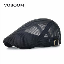 Wholesale gatsby newsboy hats - VOBOOM Summer Men Women Casual Beret Hat Ivy Flat Cap Cabbie Newsboy Style Gatsby Hat Adjustable Breathable Boina Mesh Caps 124