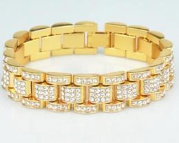 14 K золото полностью оттаявшим президент смотреть Band CZ мужской браслет от Поставщики ледяная полоса