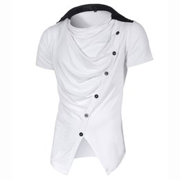 Wholesale Wholesale White Button Down Shirts - Brand Clothing T-Shirt Button Men Short Sleeve Patchwork Turn Down Collar Cruved Hem T Shirt Men's Casual Hip Hop Ruched Tshirt