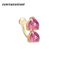 Wholesale Fake Gold Chains - Fancy&Fantasy Hot Body Jewelry Crystauble Heart-shape Rhinestonel Fake Belly Button Piercing Navel Nail Ring Surgical Steel Do