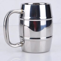 Wholesale wholesale stainless steel coffee cups - Double Barrel Double Wall Insulated Stainless Steel Beer And Coffee Mug Children Drinking Milk Cup HH7-787