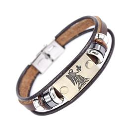 Bracelet à breloques perlées de la mode 12 signes du zodiaque avec fermoir en acier inoxydable Bracelet en cuir pour hommes femmes ? partir de fabricateur