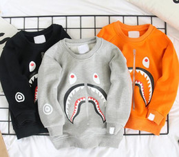 Wholesale Popular Baby Clothing - Wholesale Retail Children Clothing Baby boys Spring Autumn Shark Printed Pullover Sweatshirt Girl Popular Long Sleeve Jersey Free Shipping