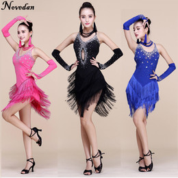 sexy ballroom dance skirts Coupons - New Fringe Latin Dance Dresses Women Girls Sexy Long Skirt Ballroom Tango Rumba Salsa Latin Dresses Costume For Dancer